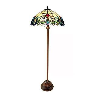 "Chloe CH18767IV18-FL2 18"" Shade Dulce Tiffany-Style 2 Light Victorian Floor Lamp, 64 x 18 x 18, Multicolor"