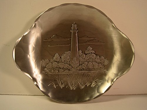 Wendell August Hammered Metal Candy Dish, Assateague Lighthouse, Chincoteague Island, VA., 7 Inches -
