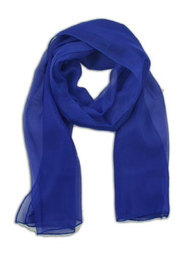 Blue Chiffon - LJL Design Chiffon Scarf Oblong (Royal Blue)