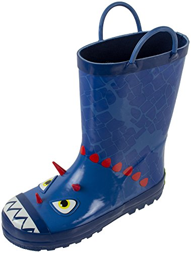 Dinosaur Kids Blue (Rainbow Daze Kids Rubber Rain Boots, Brach The Blue Dinosaur, Waterproof, Blue Red, Toddler Size 7/8)