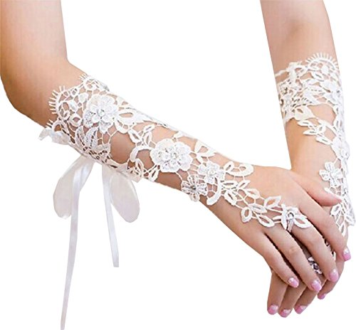 Gauss Kevin Women Hand-Woven Flowers Long Lace Gloves Fingerless Gloves Prom Party Wedding -