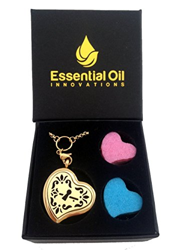 Essential Oils Diffuser Jewelry Aromatherapy Necklace Gold Plated 316 Stainless Steel Heart of Love Pendant Locket 24