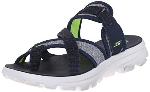 Skechers Go Walk Move Relax, Sandales Plateforme femme Bleu - Blue (Nvw)