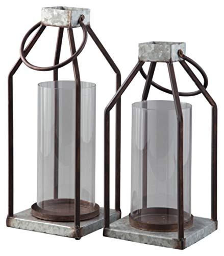 Signature Design by Ashley Diedrick Set of 2 Lanterns - Casual, Large, - Decor Gray Home