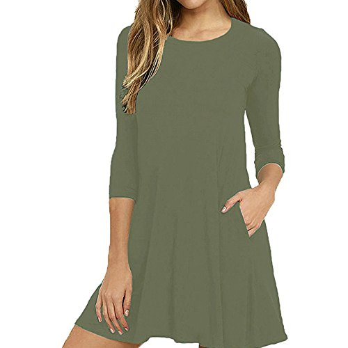 Syban Women Sexy Summer Fashion Thin Solid Color Casual Autumn Winter Dress (Small,Y-Green) -