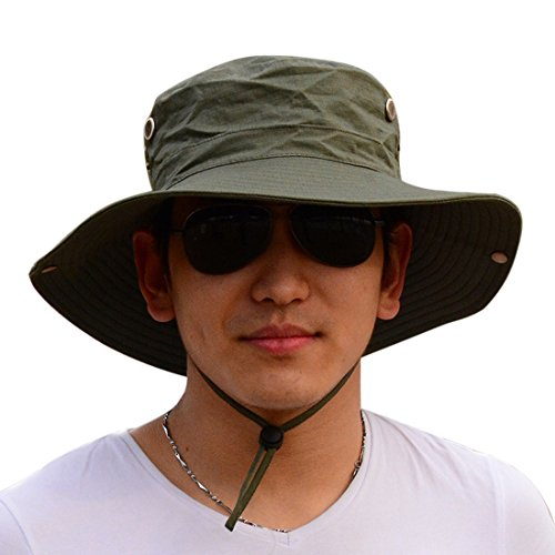 Protection Cowboy Sun (Men Cowboy Sun Protection Cap, Foldable Boonie Fishing Hiking Hat UPF 50+, Wide Brim Bucket, Army Green)