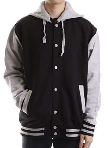 Paris Says Men's Classic Varsity Fleece Jacket with Detachable Hood (Letterman Jackets With Hood compare prices)