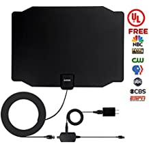 TV Antenna, 2018 UPGRADED - With UL Adapter, ZetHot TV Antenna 60 to 80 Mile Range Amplified Indoor HDTV Antenna with Detachable Amplifier Signal Booster and 16.5FT Coax Cable
