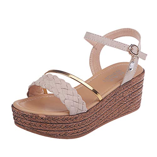 Womens Wedges Sandals Comfortable Open Toe Buckle Ankle Platforms Sandals High Heels Shoes Summer Beach Sandal Beige