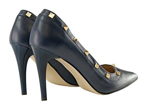 BOSCCOLO 4467-66-65 Stilettos, High Heels,Studs, Nieten, Leather, Leder, Cuir Veritable Navy Blue