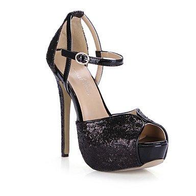 FYios Las mujeres sandalias de verano sintético confort boda vestido de noche &Amp; Stiletto talón Sliver negro US8.5 / EU39 / UK6.5 / CN40