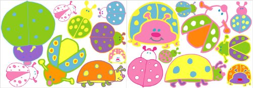Pastel Ladybug Wall Decals / Lady Bug Wall Stickers in Pink, Purple, Greens, Blue, Orange and Yellow