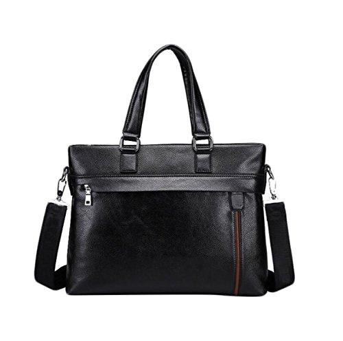 Hombre De Cuero De Negocios Pack Maletín Computer Handle Slip Shoulder Bag Black