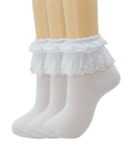 Women Lace Ruffle Frilly Ankle Socks Fashion Ladies Girl Princess H06 (3 -