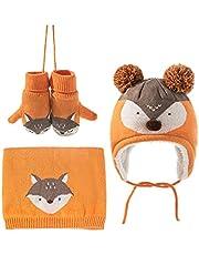 Sunlunckystar Toddler Kids Knit Hat Scarf Gloves Fox Pattern 3 Pieces Set