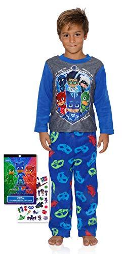 Boys License Fleece Pajamas Pokeman, Mario, Avengers, Spiderman and More 4-10 with 200+Stickers, PJ Mask, Size 6