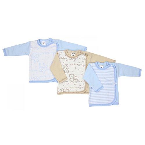 3er Set Baby Wickelhemd Langarm Flügelhemdchen 100% Baumwolle Wickelshirt Mädchen Unterwäsche Jungen, Farbe: Junge, Größe: 74