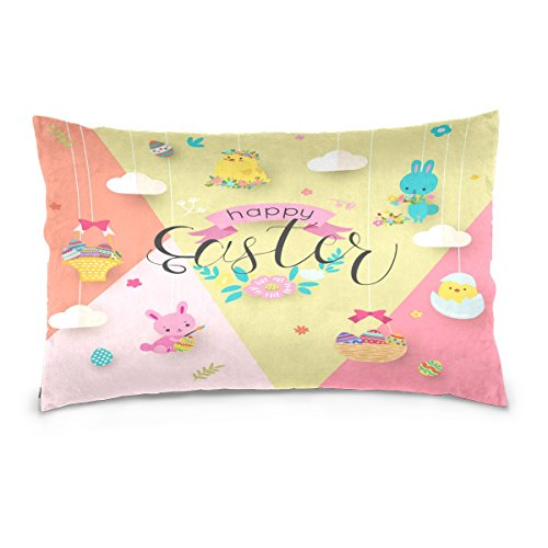 ALAZA Happy Easter Egg Rabbit Bunny Cotton Lint Pillow Case,