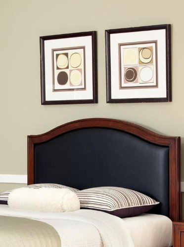 - Home Styles Duet Queen Camelback Headboard, Black Leather Inset