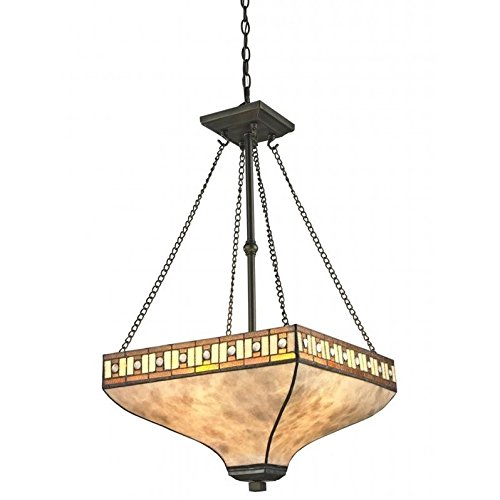 Z-Lite Z17-52P 3-Light Pendant, White Mica/Honey Amber Tiffany