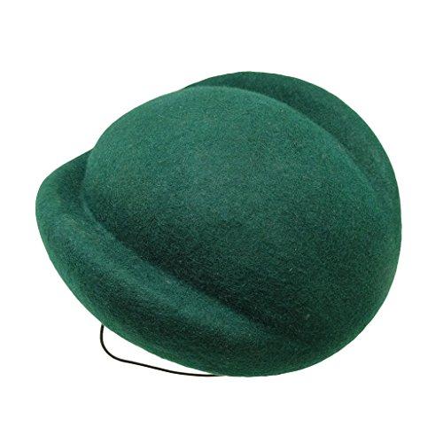 HATsanity Women's Textura de lana Comba Sombrerería Pillbox Verde