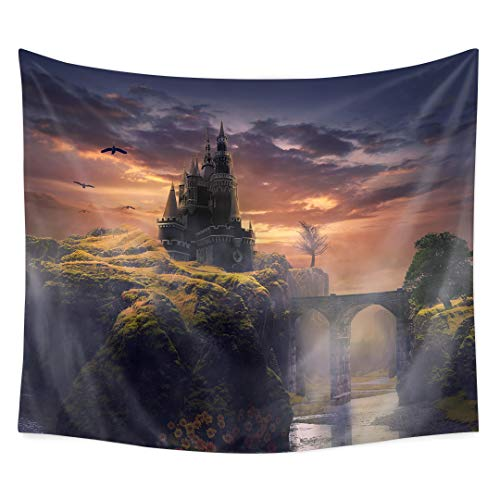 QuanCheng 3D Printing Fantasy Plant Magical Forest Mountain Castle Tapestry Art for Home Decor Wall Hanging - Castle Art Fantasy