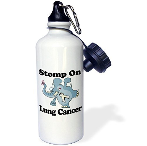 21oz Sports Water Bottle, Elephant Stomp on Lung Cancer Awareness Ribbon Cause Design rfy9u7