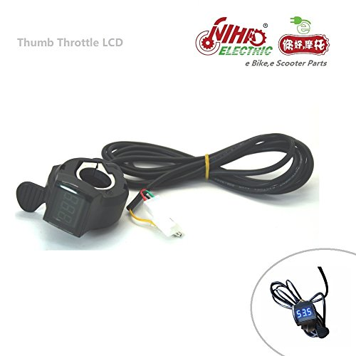 nihao 07 Thumb Throttle with LCD Digital Battery Voltage Display for Ebike Bicycle Electric Scooter e Bike