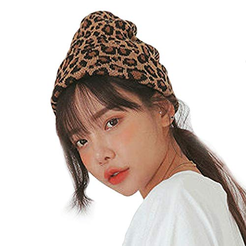 CRIZAN Women Girls Wool Blend Faux Fur Paisley Leopard Print Double Layers Winter Thick Slouchy Cable Knit Skull Hat Ski ()