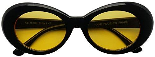 50's Vintage Oval Bold Nirvana Inspired Color Pantone Lens Sunglasses (Black / Yellow Lens, 65)
