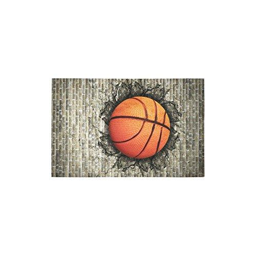 InterestPrint Custom Home Decor Basketball Embedded in A Brick Wall Art Area Rug Cover 2'7 x 1'8, Vintage Modern Floor Rug Carpet Cover for Living Room Bedroom
