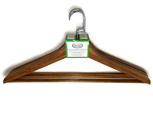 "Extra Wide Bamboo Clothing Hangers (Set of 5) They are 22.8"" Wide for XL, XXL, XXXL and Larger!!"