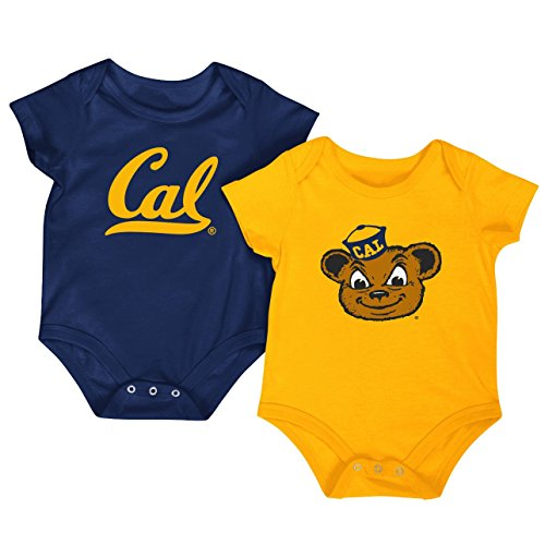 Ncaa Baby Creepers Shop - Colosseum NCAA Short Sleeve Bodysuit 2-Pack-Newborn and Infant Sizes-California Golden Bears-3-6 Months
