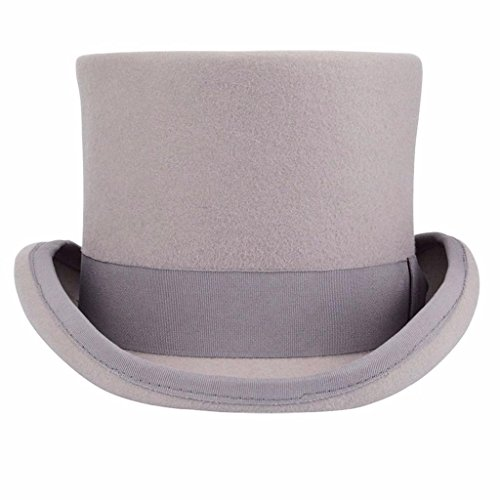 Premium Wool Victorian Steampunk Mad Hatter Top Hat for Costumes Grey