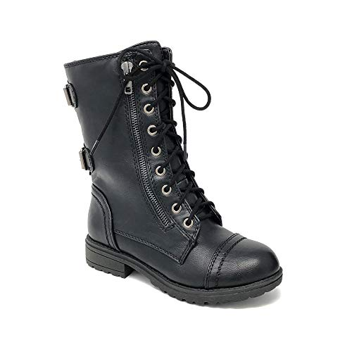 SODA Dome-2 Girls Kids Lace Up Military Combat Boots (12 M US Toddler, Black Pu) ()