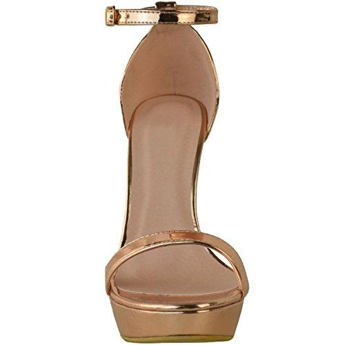 Plataforma De Mujer Sedienta De Moda Sandalias De Tacón Alto Del Estilete Partido Sexy Prom Zapatos Tamaño Oro Rosa Metalizado