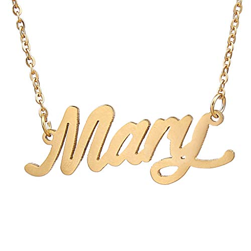 (AIJIAO 18k Gold Plated Script Nameplate Name Necklace Personalized Choker Women Gift/Mary Gold)