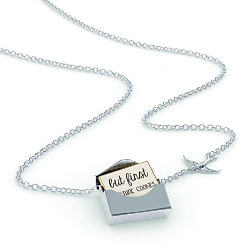 NEONBLOND Locket Necklace But First Fortune Cookies Funny Saying in a Silver Envelope