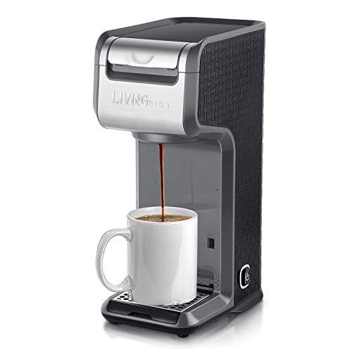 LIVINGbasicsTM 2 in 1 Single Serve Coffee Maker Coffee Brewer, Compatible with K-Cup Pods or Ground Coffee, Slim Design, Portable and Easy to Use (Grey)