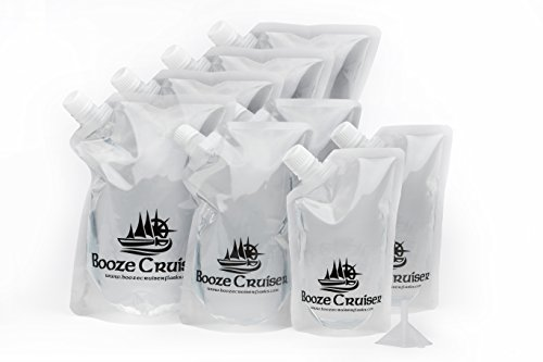 (Booze Cruiser Flask Set Perfect For Cruises and Travel or Anywhere You Want a Rum Runner Cocktail Plastic Flask Kit (4x32oz, 2x16oz, 2x8oz + Funnel))