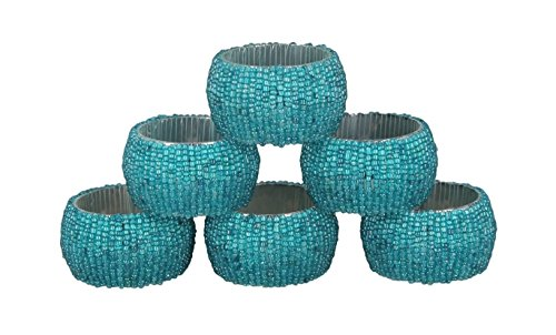 Shalinindia Handmade Beaded Napkin Rings Set With 6 Turquoise Glass Beaded Napkin Holders - 1.5 Inch in Size