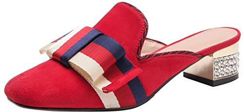 Calaier Women Tuoxic Square-Toe 3.5CM Block Heel Slip-On Slippers Shoes Red