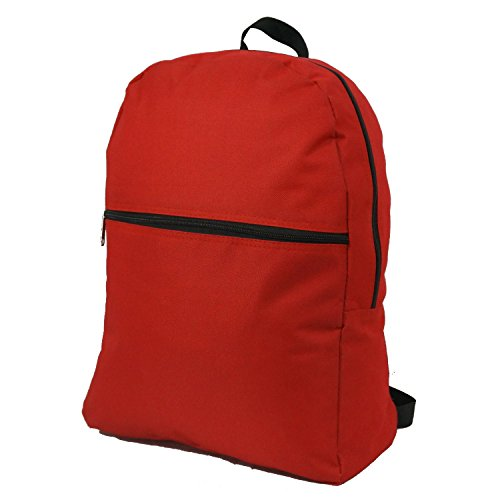 Price comparison product image Wholesale Classic Backpack 17 inch Cheap Basic Bookbag Bulk Case Lot of 50pcs Simple Schoolbag Promotional Backpacks Low Price Non Profit Giveaway Student School Book Bags Vintage Daypack Red