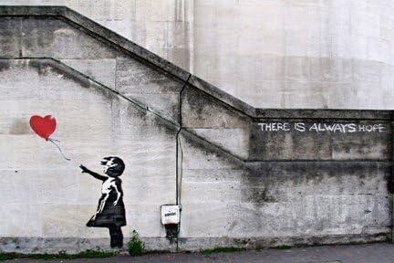 Banksy Girl And Balloon Foil print Black Red Graffiti Wall Art Home Decor Poster