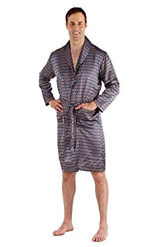 harvey james Mens Satin Nightwear Satin Robe - Navy - Blue - 9725 - X (Satin Wrap Robe)