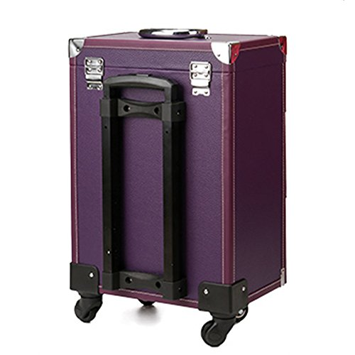 Lean Beauty Rolling Leather Makeup Case Travel Toiletry Case Nail Art Storage Bag on Wheel (Purple) by Lean (Image #1)