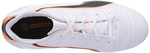Puma Universal II FG Jr - zapatillas de fútbol de material sintético infantil blanco - Weiß (white-black-fluo flash orange 02)