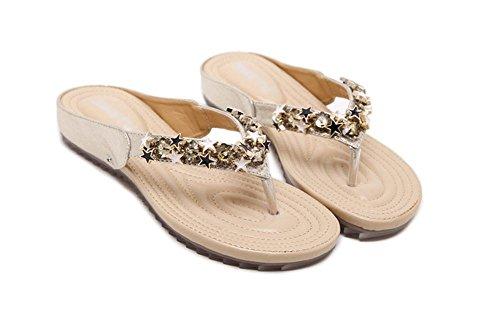 Gold Zapatillas Sandalias De Suela Blanda Modelos Femeninos Zapatos Cuentas Cómodos Planos HHvO4w