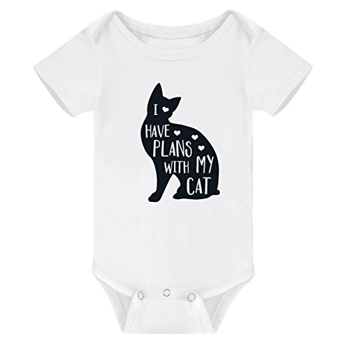 Amberetech Infant Romper Have Plans with My Cat Print Top Bodysuit for Newborn Baby Boy Girl (White, Tag 3 (for 0-3 Months)) (Cat Newborn Bodysuit)