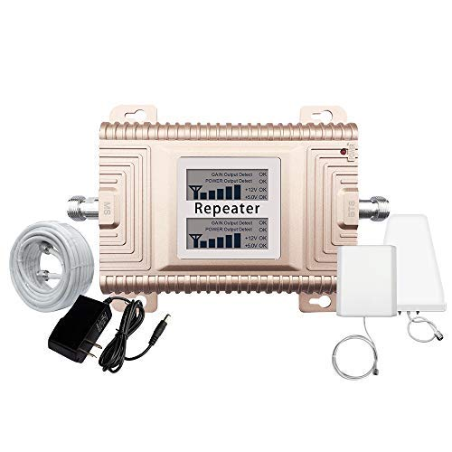 Goboost PCS 1900MHz CDMA850MHz Mobile Signal Booster Band 2 Band 5 65dBi Repeater 2G 3G 4G Dual Band Cell Phone Signal Amplifer Kit with Panel Antenna and LPDA Antenna for Home and Office